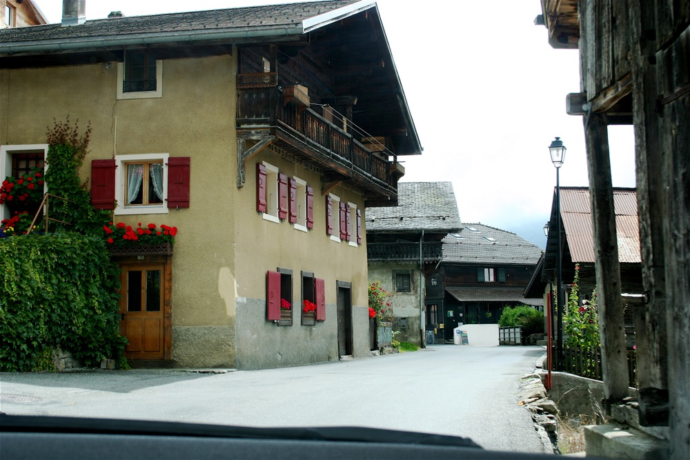 Narrow streets through Swiss village.