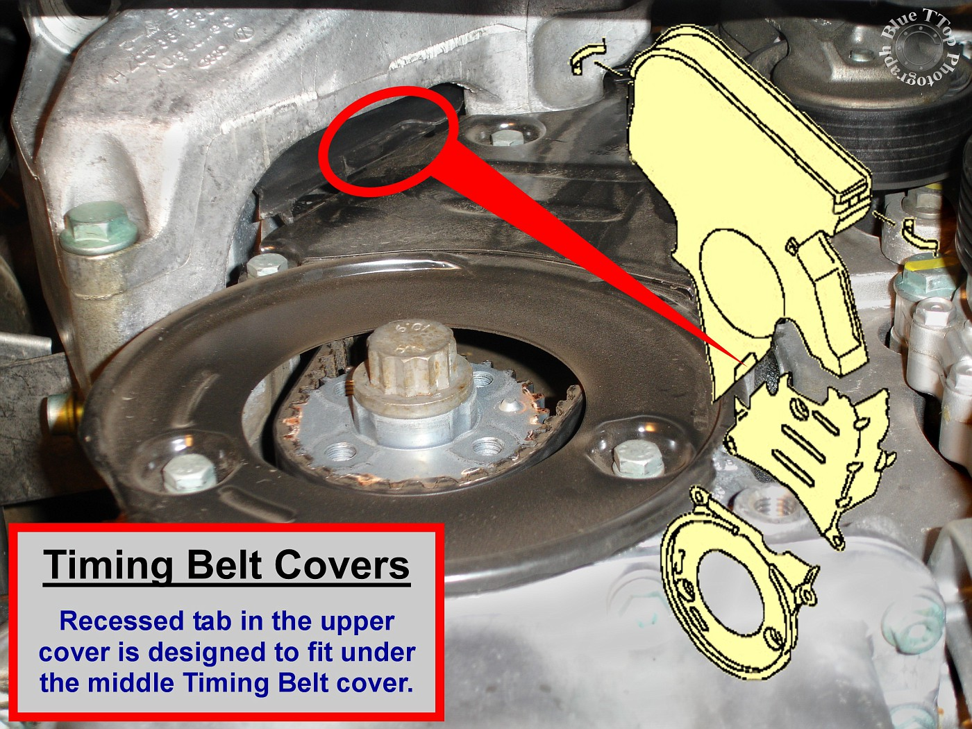This can be properly positioned and confirmed from underneath. Then secure  the 2 clips that hold the Upper Timing Belt Cover to the Valve Cover.