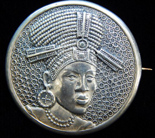 Vintage Candida African Queen Sterling Silver Designer Brooch