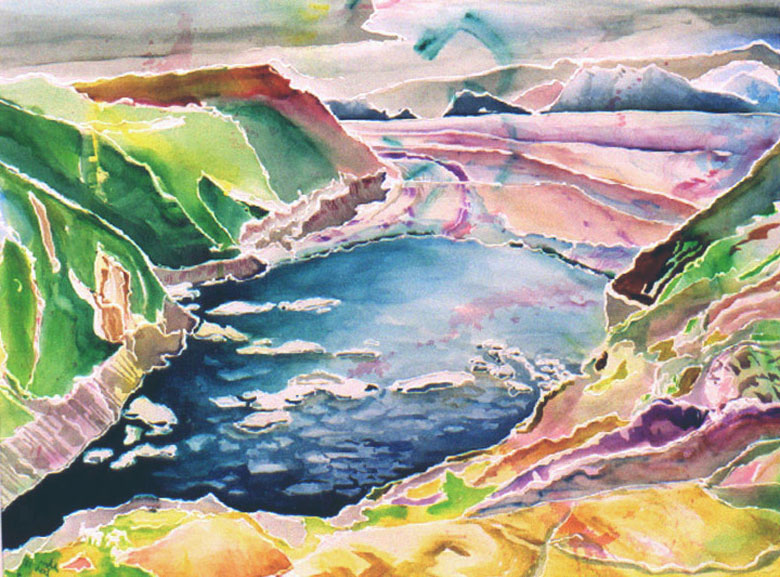 Original watercolor of Abyss Lake
