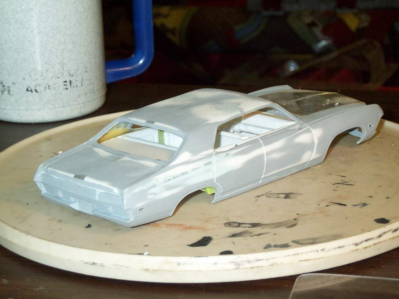 70 Torino 4door hardtop. Wheelbase is the same from 2 door to 4 door but  interior tub needs to be reworked. Couger roof & deck had to be widened about 7 scale inches to fit the torino roof & quarters