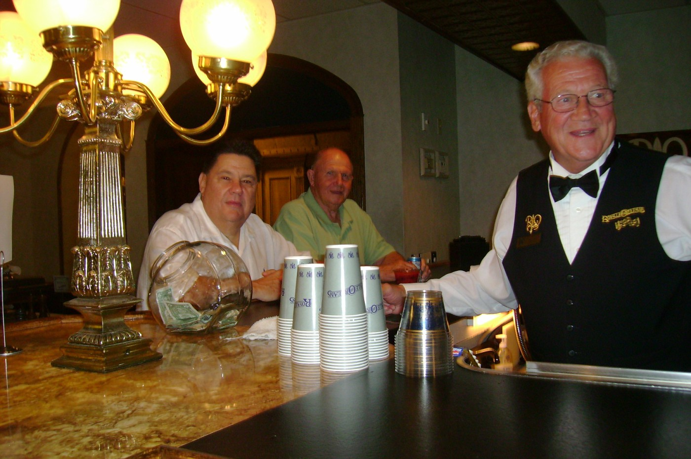 Larry Mickey, Dick Nash and Bill Trost (Bartender)