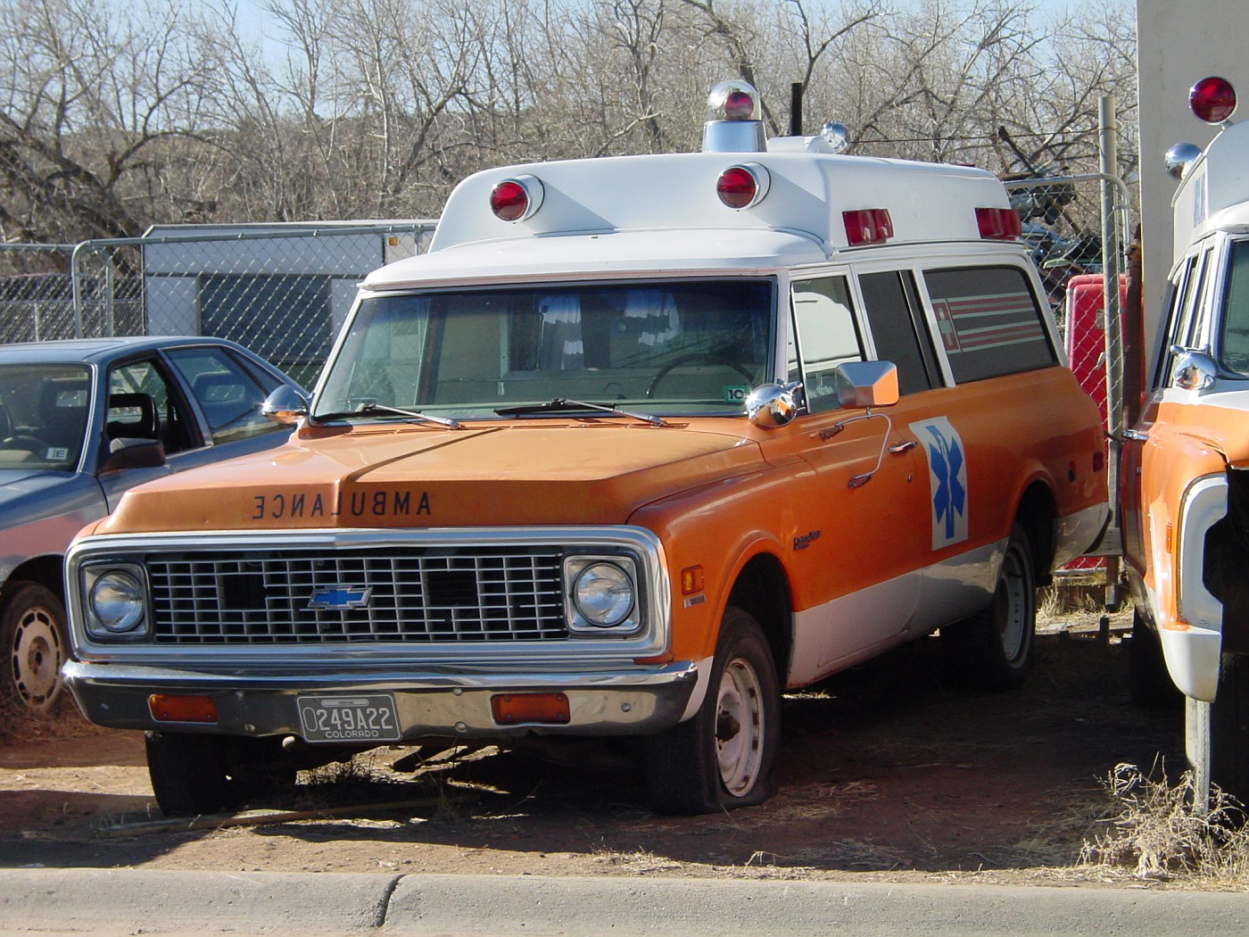 CO - Chevy ambulance (72) in a Colorado boneyard
