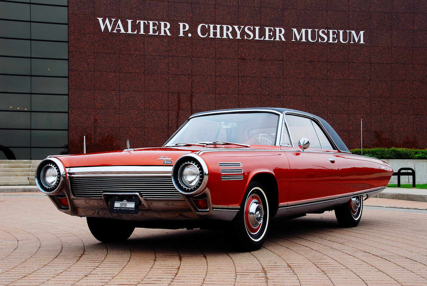 02 1963 Chrysler Ghia Turbine Car front three-quarter view at WP Chrysler Museum