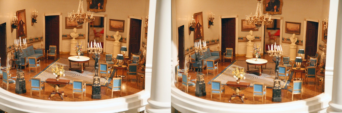 White House miniature 3D Blue Room