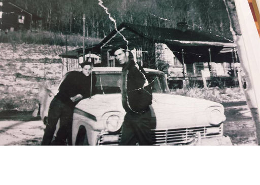 #9-(L-R) Perry Lee Hutson and his dad, Willie Hutson, at their house in Dean and Roach Creek mining camp.