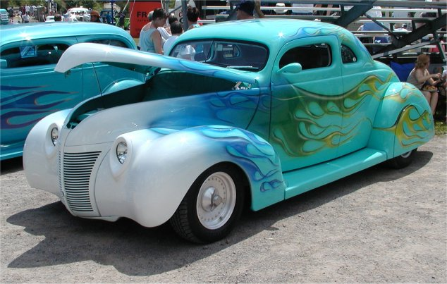 '38 Ford, flames painted with $60 worth of latex HOUSE PAINT!!!