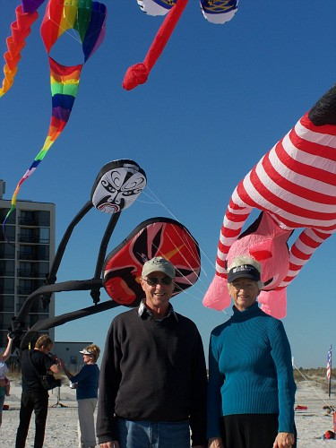 Tony and Mom and some kites.