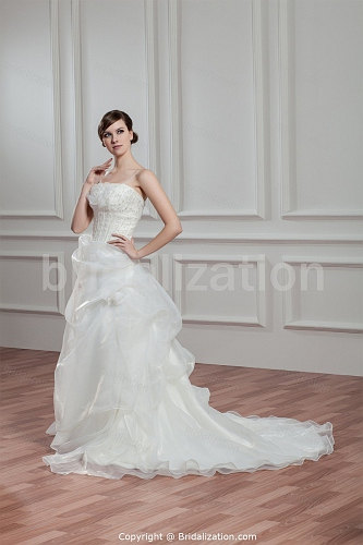 Ivory Satin/Organza Spaghetti Straps A-line Wedding Dress